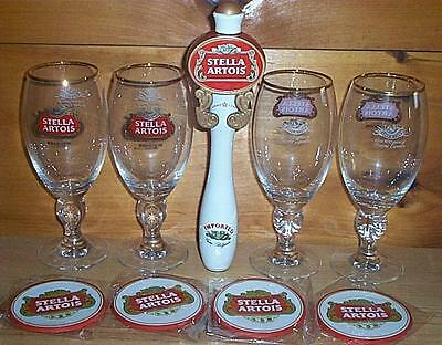 STELLA ARTOIS TAP HANDLE KEG MARKER 4 ANNIVERSARY GLASSES 40cl & COASTERS NEW