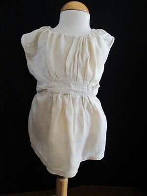Antique Apron Pinny Pinafore Edwardian Young Girls Simple Linen c1910