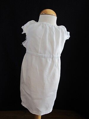 Antique Apron Pinny Pinafore Edwardian Young Girls Simple Cotton Lace c1910