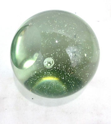 "ontrolled Bubble Round Sphere Paperweight ""AS IS""Hand BLown Clear Green Tint 3""d"