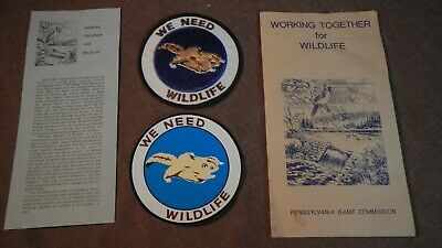 """Pennsylvania Game Commission ORIGINAL 4/"""" WTFW 1981 Flying Squirrel Patch /& Stick"""