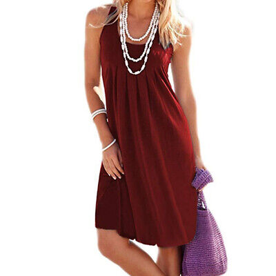 Women Ladies Womens Plain Round Neck Sleeveless Long Swing Dress Vest Dress CB