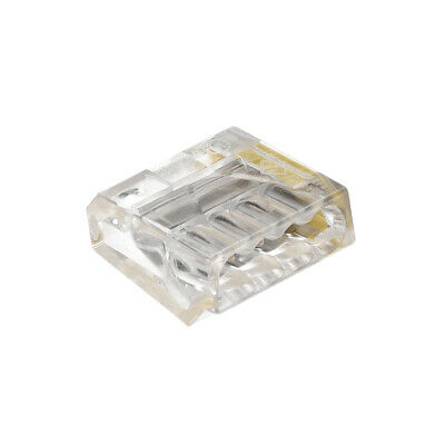 Push-In Electrical Wire Connectors 18-14 Awg 4-Port 450V Clear Yellow 10 Pcs