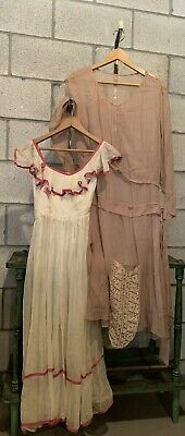 VINTAGE 1920s dresses Lot of 2 Sheer Chiffon WELL LOVED Lace dress Flapper