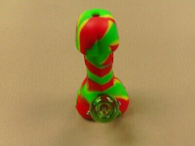 "Penis Silicone Smoking Water Pipe! RASTA Colors 7.28"" Bong W/ Glass 14mm Bowl"