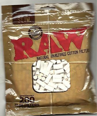 Raw Natural Unrefined Cotton Slim Cigarette Filter Tips Bag Of 200