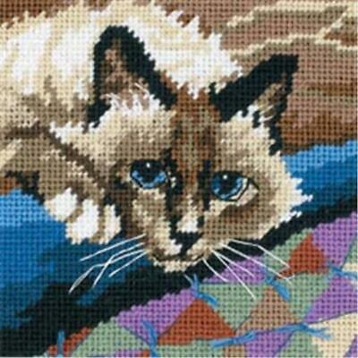 Dimensions 390827 Cuddly Cat Mini Needlepoint Kit-5 in. x 5 in. Stitched In F...