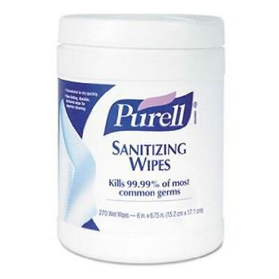 Gojo 911306CT Sanitizing Hand Wipes 6 x 6.75 White 270 Wipes per Canister 6 p...