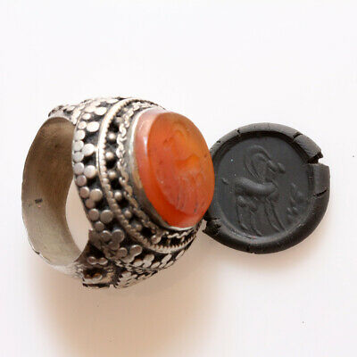 Massive Near East Decorated Silver Seal Ring With Carnelian Stone Circa 1400 Ad