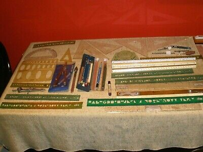 "LOT Assorted Drafting Tools etc Vtg 1930-1960s 30+ pcs ""As Is"""