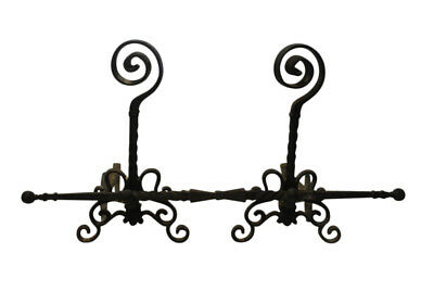 """Antique Hand Forged Fireplace Andirons Circa 1800 66""""W, 30""""H"""