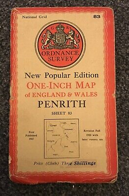 Vintage Ordnance Survey Map Penrith 1947 Cloth edition - Sheet 83