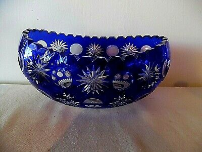 Stunning Vintage Bohemian Czech Cobalt Blue Cut To Clear Comport Compote Ex Cd