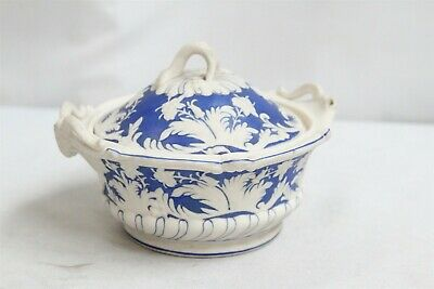 Antique England Blue White Flowers 2 Horned Goat Heads Parianware Lidded Bowl