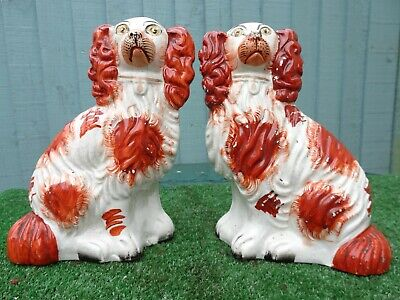 SUPERB PAIR: MID 19thC STAFFORDSHIRE RUSSET RED & WHITE SPANIEL DOGS c1850s
