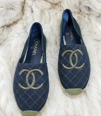 1316bbefe82 CHANEL QUILTED GREEN Blue Espadrille Logo Loafer Flats Size 41 ...