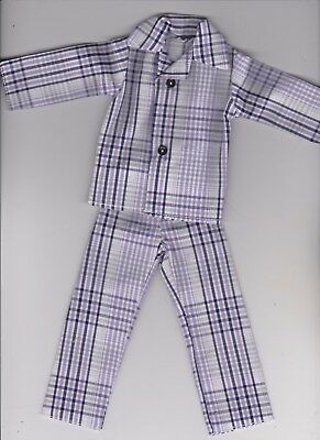 Homemade Doll Clothes Very Pretty Plaid Print Button Pajamas fits Ken KP2