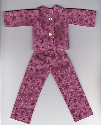 Doll Clothes-Pretty Pink Flowered Print Pajamas that fit Barbie-Homemade BP1