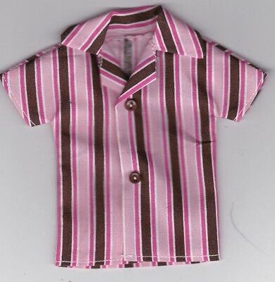 Homemade Doll Clothes-Blue on Blue Striped Shirt that fits Ken Doll B1