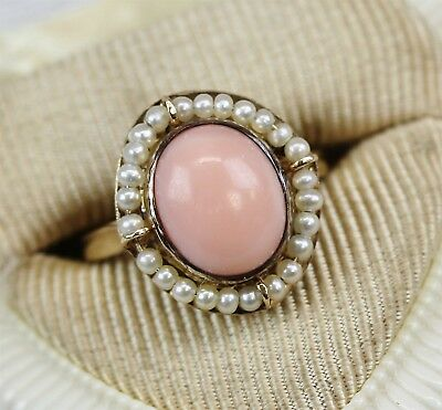 VICTORIAN  14K Yellow Gold Angel Skin Coral Seed Pearl Ring Luxury FINEST SZ 5.5