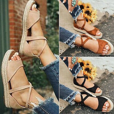 Womens Flat Platform Espadrilles Sandals Summer Beach Ankle Strap Peep Toe Shoes