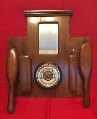 Vintage Oak Hall Mirror With Barometer & Clothes Brushes c.1920's