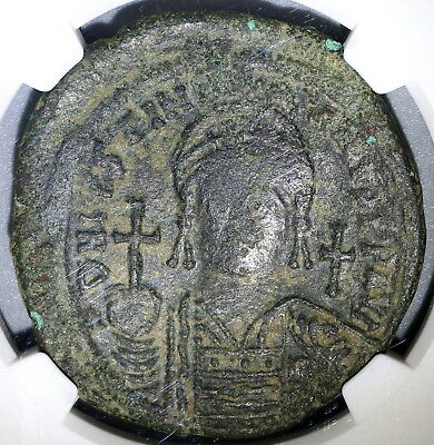 540/1 Justinian I Byzantine Empire Dated Follis Constantinople NGC F (18031501D)