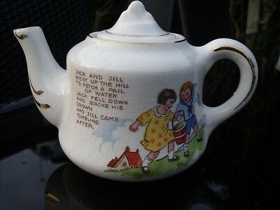 Antique Nursery Ware Teapot decorated with Jack & Jill & Nursery Rhyme 1920s/30s