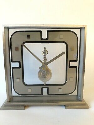 Very Rare Luigi Colani Jaeger Le Coultre In Line Skeleton Mantle Clock With Box