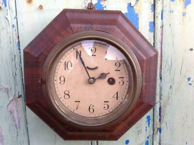 Antique Shop Factory Clock Waterbury Movement Mahogany Case 1920s Early Art Deco