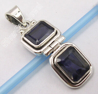""".925 Sterling Silver Real IOLITE ARTISAN FACETTED STONE New HINGE Pendant 1.3"""""""