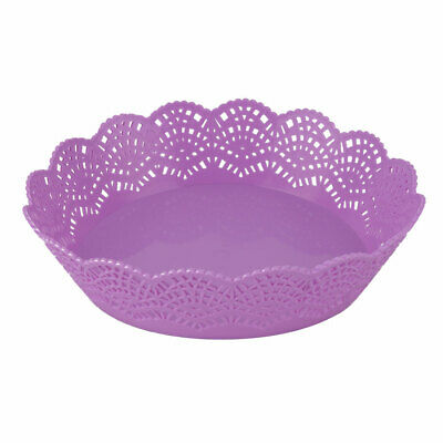 Home Kitchen Plastic Hollow Out Wave Edge Fruit Vegetable Plate Basket Purple