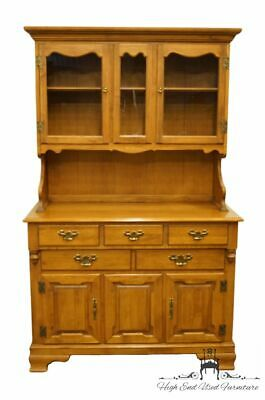 """TELL CITY Solid Hard Rock Maple Colonial Style 44"""" Buffet w. Display Hutch 81..."""