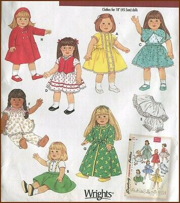 "1950s Vintage 18"" Doll Clothes Coat Panties Robe PJs Dress Retro Sewing Pattern"