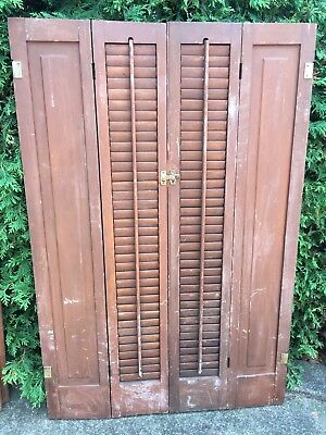 """PAIR ANTIQUE  Pine. WOODEN 1/2 LOUVERED SHUTTERS 45.25"""" TALL/30"""" TOTAL WIDTH"""