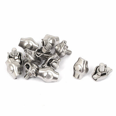 M2 Stainless Steel Simplex Wire Rope Clip Cable Clamps 12 Pcs