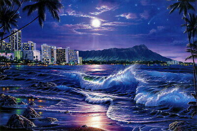 Art Giclee Print Beautiful seascape city Oil painting Printed on canvas P1321