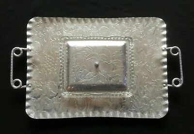 Large Antique Art Deco~Retro SERVING TRAY Aluminum Hammered Tray w Insert & Lid