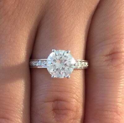 Classic 2.00 ct D/SI1 Round Cut Diamond Solitaire Engagement Ring 14K White Gold