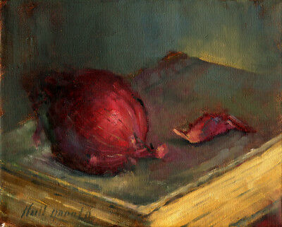 Red Onion on Dante's Inferno 8x10 in. Original Oil on canvas Hall Groat II