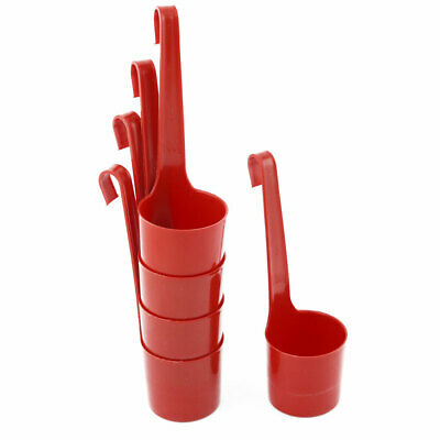 Home Cellar Plastic Wine Storage Container Ladle Dipper Measuring Cup Red 5pcs