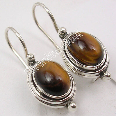 925 Sterling Silver Genuine TIGER'S EYE SEMI PRECIOUS GEMSTONE Earrings 1""