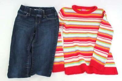 Girls Outfit French Toast Pink Striped Sweater & Gap Kids Legging Jeans Med 10