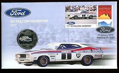 2019 Ford XC Falcon Hardtop 1977 FDC/PNC With Coloured RAM 50c Coin