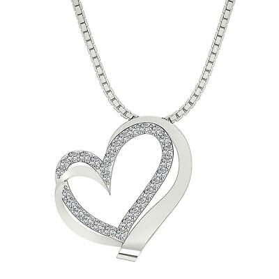 SI1 G 0.50 Ct Round Diamond Heart Pendant Necklace 14K Solid White Gold Pave Set