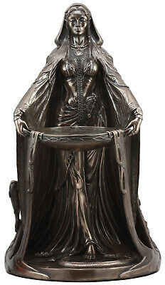 "Large Bronzed Maxine Miller Celtic Triple Goddess Danu With Cauldron Statue 16""H"