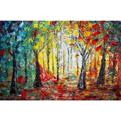 Abstract Seasons Impasto Oil Painting Original Art on Canvas Trees Landscape