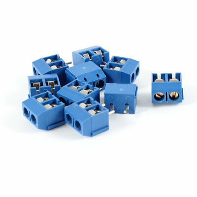 10Pcs Double Pin 2P Screw Terminal Blocks Connectors 16A 300V Blue for PCB Board