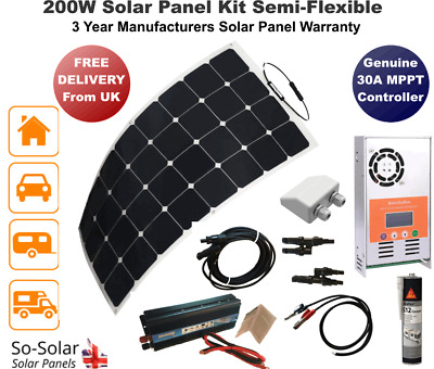 Solar Panel Kit 200w, 2000W Inverter, MPPT Controller, Cables, Gland & Adhesive