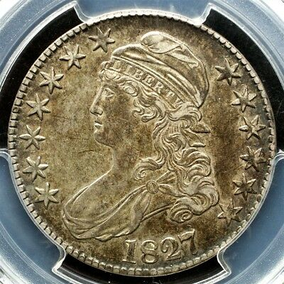 1827 Capped Bust Half Dollar, Overton O-105 Variety - PCGS AU53, CAC Approved